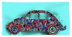 Retro Beetle Car 5 Beach Towel