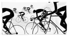 Retro Bicycle Silhouettes 1986 Beach Towel
