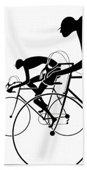 Beach Towel featuring the photograph Retro Bicycle Silhouettes 2 1986 by Padre Art