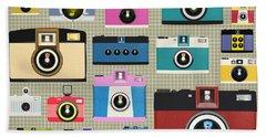 Retro Camera Pattern Beach Towel