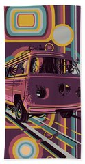 Retro Camper Van 70s Purple Beach Towel