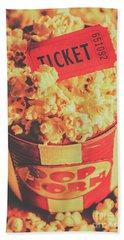 Retro Film Stub And Movie Popcorn Beach Towel