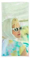 Beach Sheet featuring the digital art Retro Girl - Road Trip No.1 by Serge Averbukh