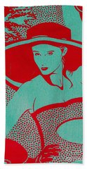 Beach Towel featuring the mixed media Retro Glam by Writermore Arts