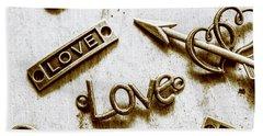 Retro Love Heart Jewels  Beach Towel