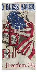 Beach Towel featuring the digital art Retro Patriotic-a by Jean Plout