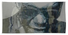 Beach Towel featuring the mixed media Retro / Ray Charles  by Paul Lovering