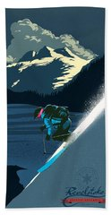 Retro Revelstoke Ski Poster Beach Towel by Sassan Filsoof