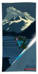 Retro Revelstoke Ski Poster Beach Sheet