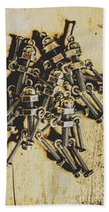 Retro Robot Recruits Beach Towel