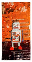 Retro Robotic Nostalgia Beach Towel