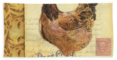 Retro Rooster 1 Beach Towel