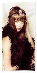 Retro Showgirl In Feather Boa Beach Towel