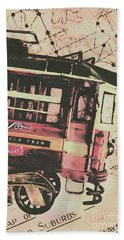 Retro Streets And Urban Trams Beach Towel
