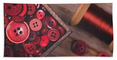 Retro Styled Red Buttons And Thread Beach Sheet