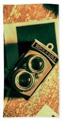 Retro Toy Camera On Photo Background Beach Towel