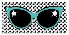 Retro Turquoise Cat Sunglasses Beach Towel