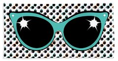 Beach Towel featuring the digital art Retro Turquoise Cat Sunglasses by MM Anderson