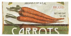 Retro Veggie Label 2 Beach Towel by Debbie DeWitt