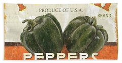 Retro Veggie Labels 3 Beach Towel