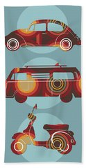 Retro Wheels 70s Blue Beach Towel