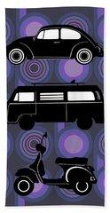 Retro Wheels 70s Purple Beach Towel