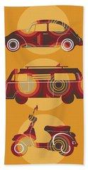 Retro Wheels 70s Yellow Beach Towel