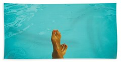 Retro Young Girl Relaxing Her Feet At Swimming Pool Beach Towel