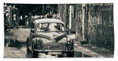 Retromobile. Morris Minor. Vintage Monochrome Beach Towel by Jenny Rainbow