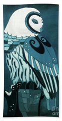 Retrospect In The Moonlight Owl Beach Towel