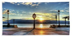 Revere Beach Clock At Sunrise Angled Long Shadow Revere Ma Beach Towel