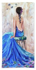 Beach Towel featuring the painting Rhapsody In Blue by Jennifer Beaudet
