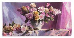 Beach Towel featuring the painting Rhapsody Of Roses by Steve Henderson