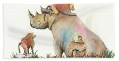 Rhino And Baboons Beach Towel