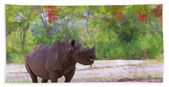 Beach Towel featuring the painting Rhino Impressions by Judy Kay