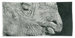 Rhino Pencil Drawing Beach Towel