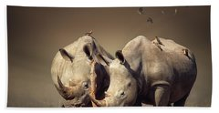 Rhino's With Birds Beach Towel