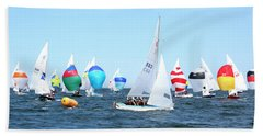 Beach Towel featuring the photograph Rhodes Nationals Sailing Race Dennis Cape Cod by Charles Harden
