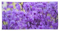 Beach Towel featuring the photograph Rhododendron In Bloom. Spring Watercolors by Jenny Rainbow