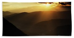 Rhodope Mountains At Sunset Beach Towel