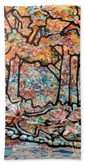 Beach Towel featuring the mixed media Rhythm Of The Forest by Genevieve Esson