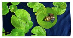 Beach Towel featuring the photograph Ribbit by Greg Fortier