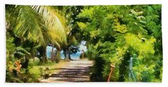Rich Green Path Beach Towel