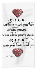 Rich Is Who You Have Beside You Beach Sheet