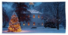 Richmond Vermont Round Church At Christmas Beach Sheet