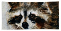 Beach Towel featuring the painting Rickey Raccoon by Barbie Batson