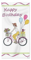 Ride In Style - Happy Birthday Beach Towel