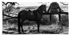 Rider And Horse Taking Break Beach Sheet