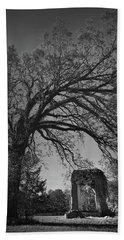 Beach Towel featuring the photograph Ridgeway School Doorway Arch In Black And White by Kelly Hazel