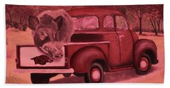 Ridin' With Razorbacks 3 Beach Towel